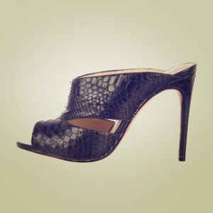 Alexandre Birman black snakeskin mule slide heel 6